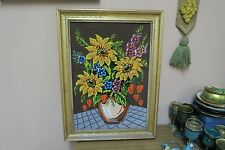 "Vintage Finished Needlepoint Flower Vase Still Life 12""x18"" - 17""x12"" Framed"