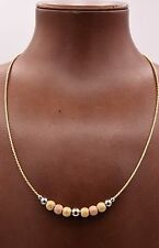 "18"" Italian Ball Satin Shiny Wheat Chain Necklace 14K Tricolor Gold Clad Silver"