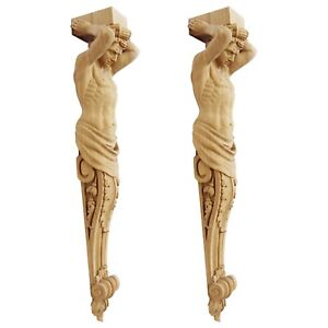 "Pair of large wood corbels ""male statue Atlas"" from oak fireplace surround"