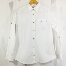 COLUMBIA White Button Down Rolled Up Long Sleeves Shirt Top Blouse Women's Sz M