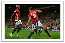 PAUL POGBA & ZLATAN IBRAHIMOVIC MANCHESTER UNITED AUTOGRAPH SIGNED PHOTO PRINT