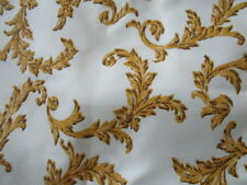 Vintage Barkcloth Pleated 1950's Drapes Hollywood Regency GoldWhite 6 panels