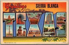 Vintage SIERRA BLANCA, TEXAS Large Letter Postcard Multi-View / Curteich Linen