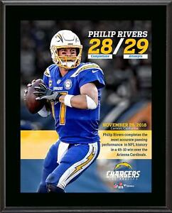 Philip Rivers Chargers 10.5x13 Single Game Completion Percentage Record Plaque