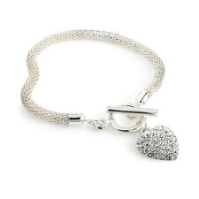Silver Coloured Heart Charm Bracelet Ladies Fashion Jewellery Gift