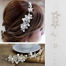 Rhinestone Faux Pearl Flower Wedding Bridal Headband Hair Band Tiara Headwear UK