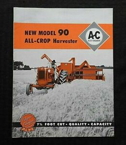 "1961 ALLIS-CHALMERS ""MODEL 90 ALL-CROP HARVESTER COMBINES"" SALES BROCHURE NICE"