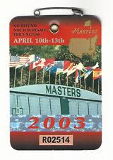 2003 Masters Augusta National Golf Club Badge Ticket Mark Weir Wins PGA