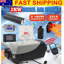 NEWEST 12V 2KW Diesel Air Heater Tank Digital Thermostat Silencer T-Piece Remote