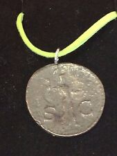 "Roman Coin Claudius WC1 Made From Fine English Pewter On 18"" Green Cord Necklace"