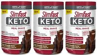 ( 3 Pack ) SlimFast Keto Meal Replacement Shake, Fudge Batter, Weight Loss 13 oz
