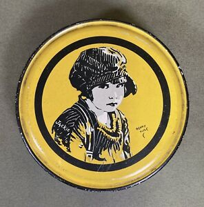 """1921 Vintage Jackie Coogan Henry Clive Canco Beautebox 5"""" Candy Tin Rare Yellow"""