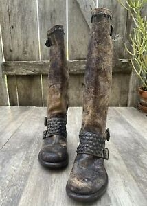 Frye Jenna antiqued brown 🔥 leather studded tall Distressed moto boots size 8