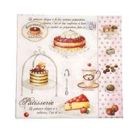 "FRENCH-STYLE CAKES POLKA PINK 3-PLY 20 PAPER NAPKINS SERVIETTES 13""X13""-33X33CM"