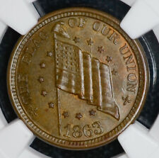 1863 Civil War Token Flag Union/Dix Shoot Him Ms65 Bn Ngc F#207/409a R1