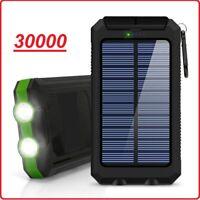 30000mAh Power Bank Waterproof Dual USB Portable Solar Battery Charger Solar US