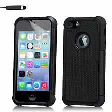Dual Layer Shockproof Case Cover Apple iPhone Models + Screen Protector & Stylus