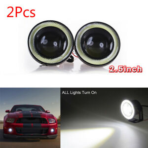 """2 X 2.5"""" 64mm White LED COB Halo Angel Eye Rings Autos Fog Light Projector Lamps"""