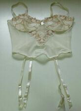 Vintage Mesh Lace Boned Corset 34B Basque Suspenders Bustier Ivory & Rose Beige