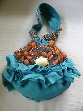 MARY FRANCES TURQUOISE SUEDE HEAVILY BEADED w/STONES EVENING WRSISTLET PURSE EUC