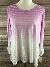 Style & Co. Women's Orchid Ombre Long Sleeve Striped Top Size Small NEW