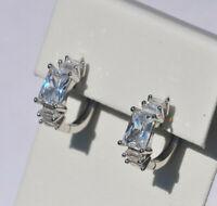 Echt 925 Sterling Silber Ohrringe Creolen Zirkonia Hochzeit Nr 264