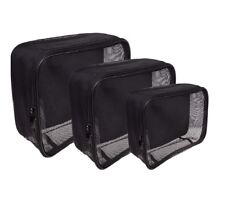 SHANY Assorted Size Cosmetics Travel Bag - Black Mesh - 3PC Set