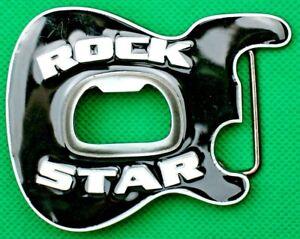 """Belt Buckle """"BLACK GUITAR-ROCK STAR"""" Bottle Opener, Made, Fit 4 cm Belt, No Belt"""
