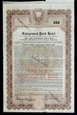 1927 Antique Vintage Fairground Park Hotel Stock Certificate Bond / St Louis Mo