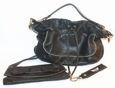 Fossil Small Leather Bag - Black - (Free Dune Clutch bag & key ring)