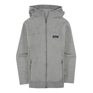 Patagonia Womens Cotton Quilted Hoody Zip Up Jacket Drifter Gray Large 25170