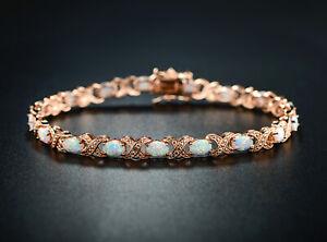 Sevil 18K Rose Gold Plated Created Opal & Swarovski Elements Tennis Bracelet