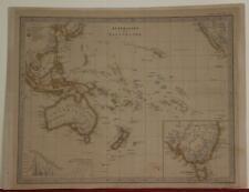 AUSTRALIA & POLYNESIA 1662 PERTHES & STIELER ANTIQUE COPPER ENGRAVED MAP