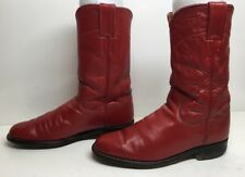 WOMENS JUSTIN WESTERN ROPER LEATHER RED BOOTS SIZE 5.5 B