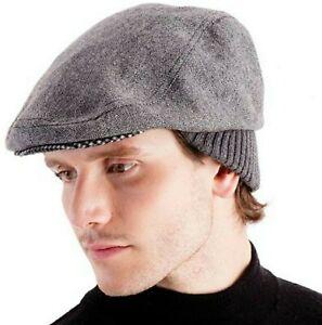 Men's  Wool Blend Tweed Flat Caps with Back Rib