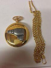 Drill Pewter Effect Tool Emblem Gold Quartz Pocket Watch