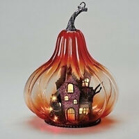 "9.5""H LED Lighted Halloween Glass Gourd Haunted House Scene Battery Op 132471"