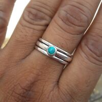 Turquoise Solid 925 Sterling Silver Spinner Meditation Statement Ring Rp6