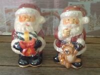Santa Claus Salt And Pepper Set Shakers Ceramic Christmas Holiday