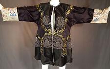 Antique Chinese Black Silk Soutache Cut Work Embroidered Sleeve Cuff Robe Coat