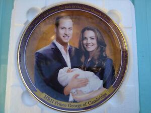 Danbury Mint Prince George of Cambridge Birth Plate Kate Middleton & William