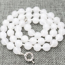 Elegant natural white and nephrite 10mm Round Beads Necklace 18 ""