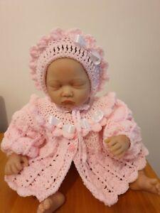HAND CROCHET NEWBORN BABY GIRLS  CARDIGAN/ COAT  AND BONNET HAT SET