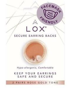 4 Lox Locking Earring Backs Butterfly. ROSE GOLD. ALLERGY AND FACEMASK FRIENDLY