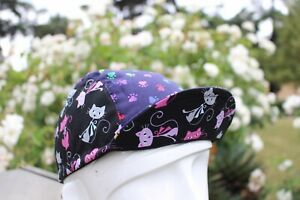 CYCLING CAP 100% COTTON CAT FOOTPRINT HANDMADE IN USA, NO FROM CHINA   S M L
