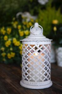 A Single French Shabby Chic Rustic White Lantern outside/ Inside