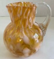 """Murano Yellow And White Blown Glass Vase With Handle 5"""" Tall"""