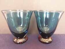 DVF Pair (2) of Blue Drinking Wine Glasses Amber Bubble Base Glass