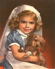 Faithful Friend - Young Girl in Nurses Outfit - Cocker Spaniel Bandaged