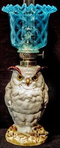 Porcelain Owl Miniature Oil Lamp FRENCH  Depose' Complete Working Rare Undamaged